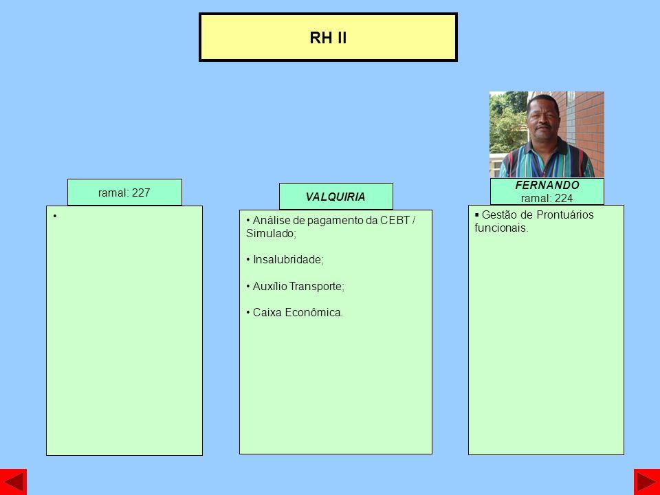 RH II FERNANDO ramal: 227 ramal: 224 VALQUIRIA