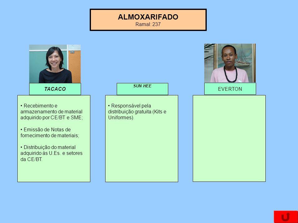 ALMOXARIFADO Ramal: 237 TACACO EVERTON