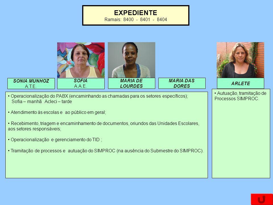 EXPEDIENTE Ramais: 8400 - 8401 - 8404 MARIA DE LOURDES ARLETE