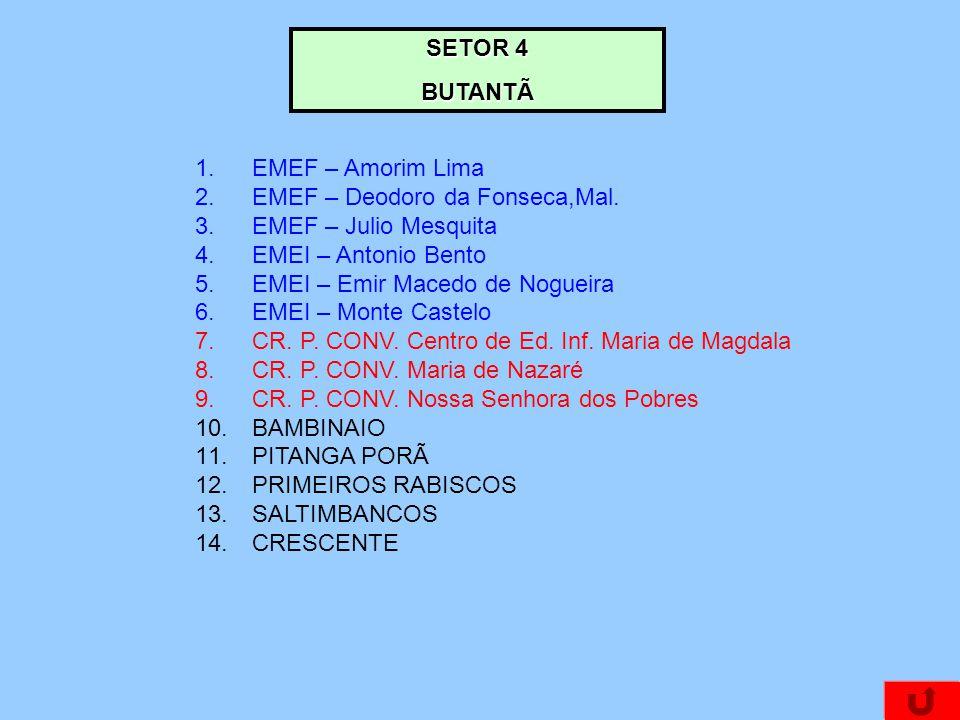 SETOR 4 BUTANTÃ. EMEF – Amorim Lima. EMEF – Deodoro da Fonseca,Mal. EMEF – Julio Mesquita. EMEI – Antonio Bento.