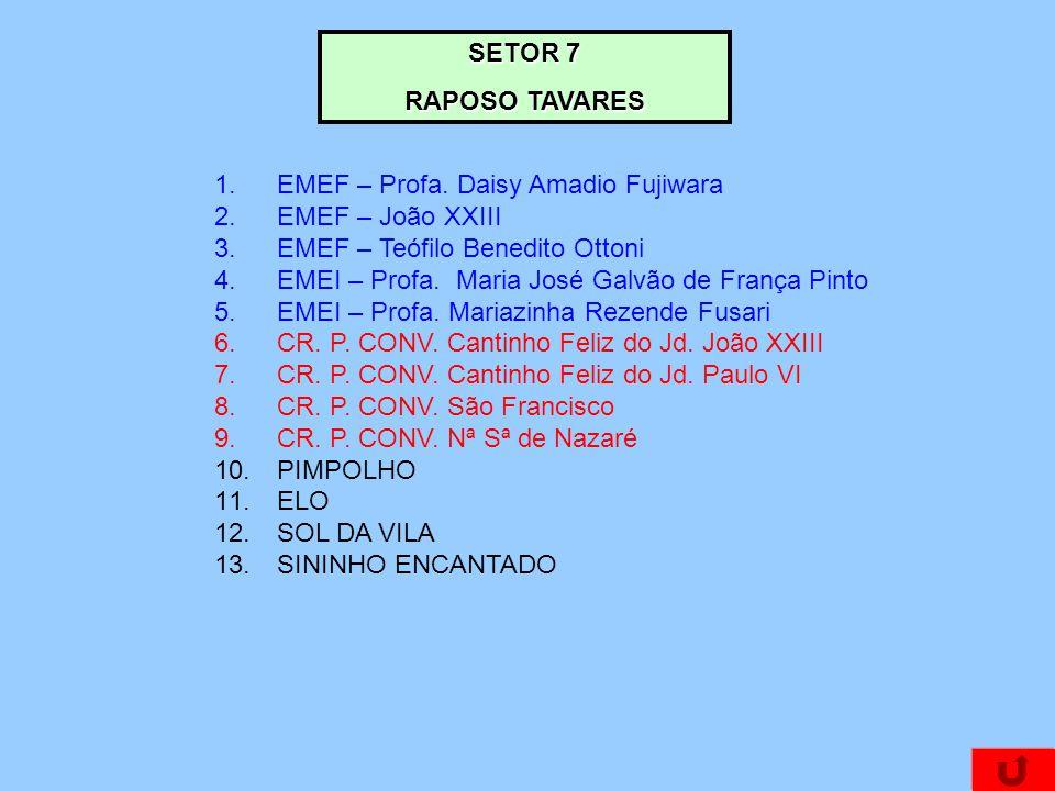 SETOR 7 RAPOSO TAVARES. EMEF – Profa. Daisy Amadio Fujiwara. EMEF – João XXIII. EMEF – Teófilo Benedito Ottoni.