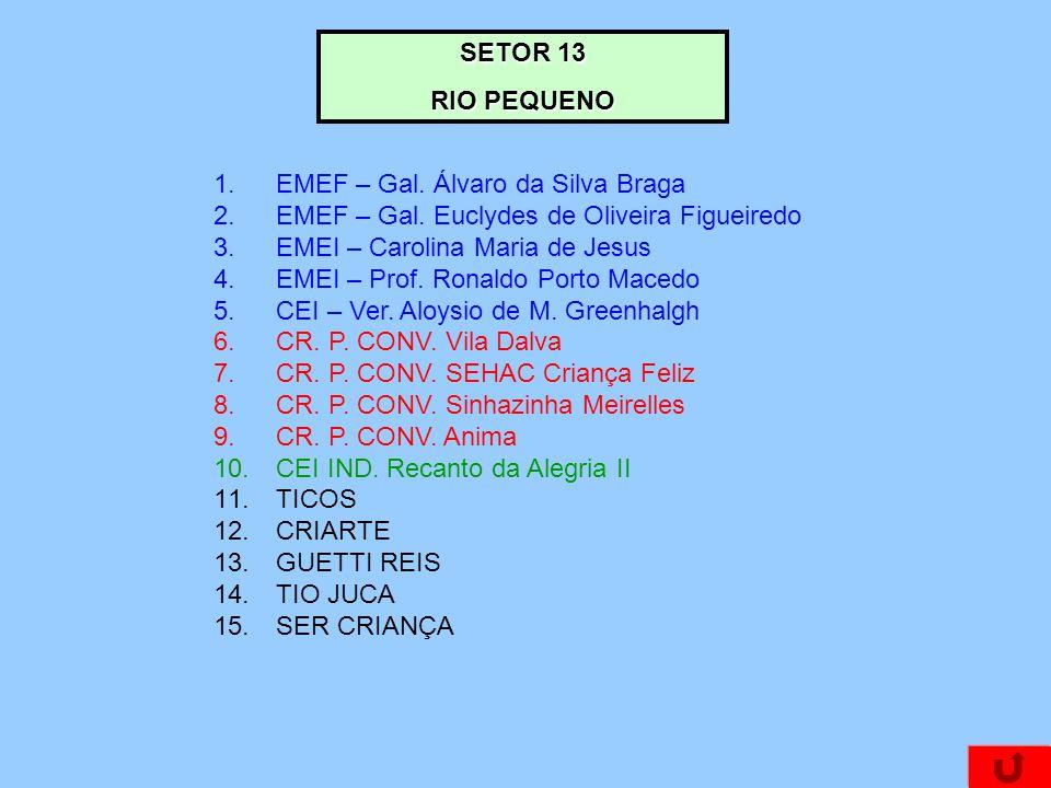 SETOR 13 RIO PEQUENO. EMEF – Gal. Álvaro da Silva Braga. EMEF – Gal. Euclydes de Oliveira Figueiredo.