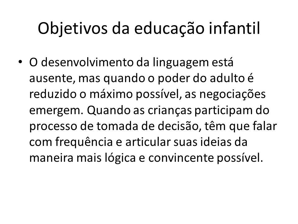Objetivos da educação infantil