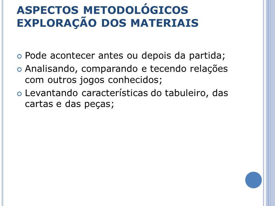 ASPECTOS METODOLÓGICOS EXPLORAÇÃO DOS MATERIAIS