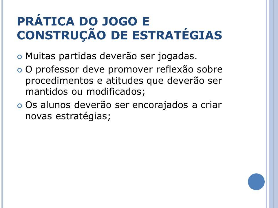 PRÁTICA DO JOGO E CONSTRUÇÃO DE ESTRATÉGIAS