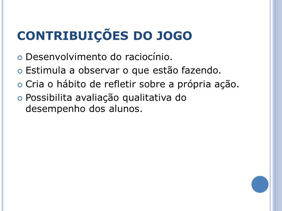 CONTRIBUIÇÕES DO JOGO Desenvolvimento do raciocínio.