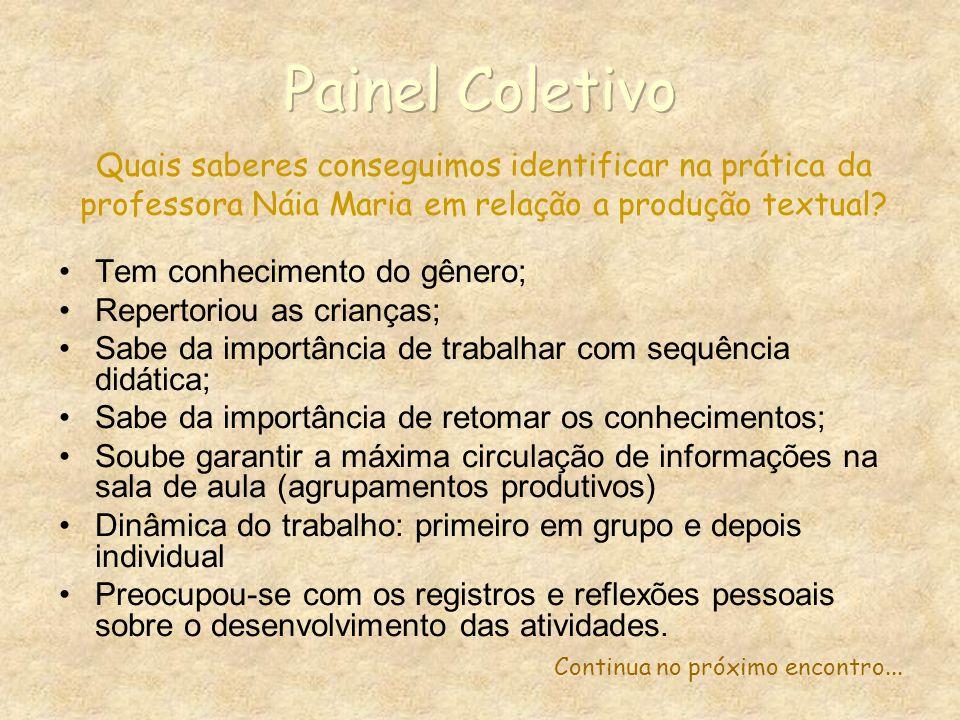 Painel Coletivo Quais saberes conseguimos identificar na prática da professora Náia Maria em relação a produção textual