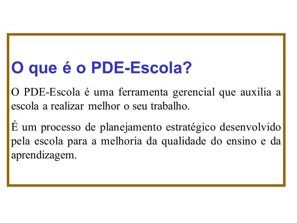O que é o PDE-Escola O PDE-Escola é uma ferramenta gerencial que auxilia a escola a realizar melhor o seu trabalho.