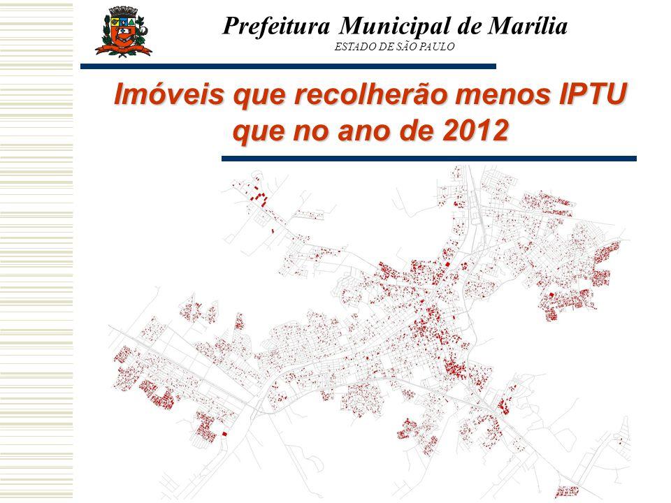 Imóveis que recolherão menos IPTU que no ano de 2012