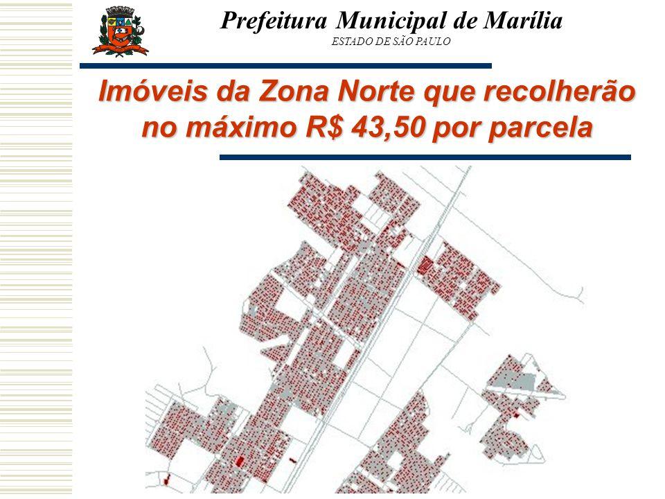 Imóveis da Zona Norte que recolherão no máximo R$ 43,50 por parcela