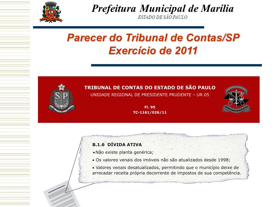 Prefeitura Municipal de Marília Parecer do Tribunal de Contas/SP