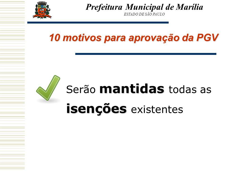 Prefeitura Municipal de Marília 10 motivos para aprovação da PGV