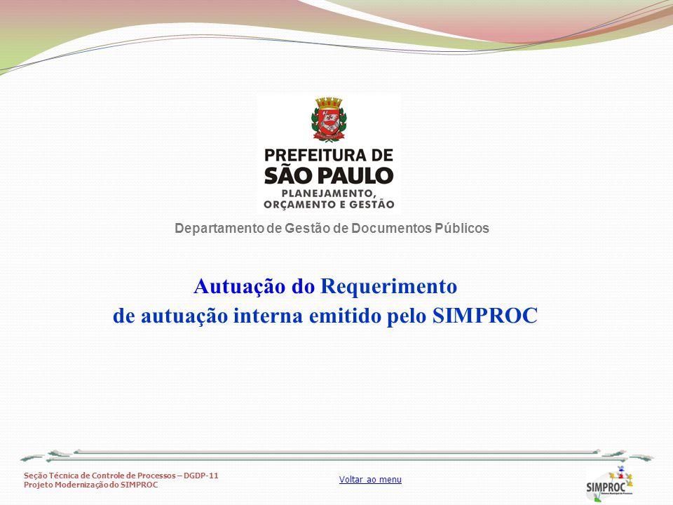 Autuação do Requerimento de autuação interna emitido pelo SIMPROC