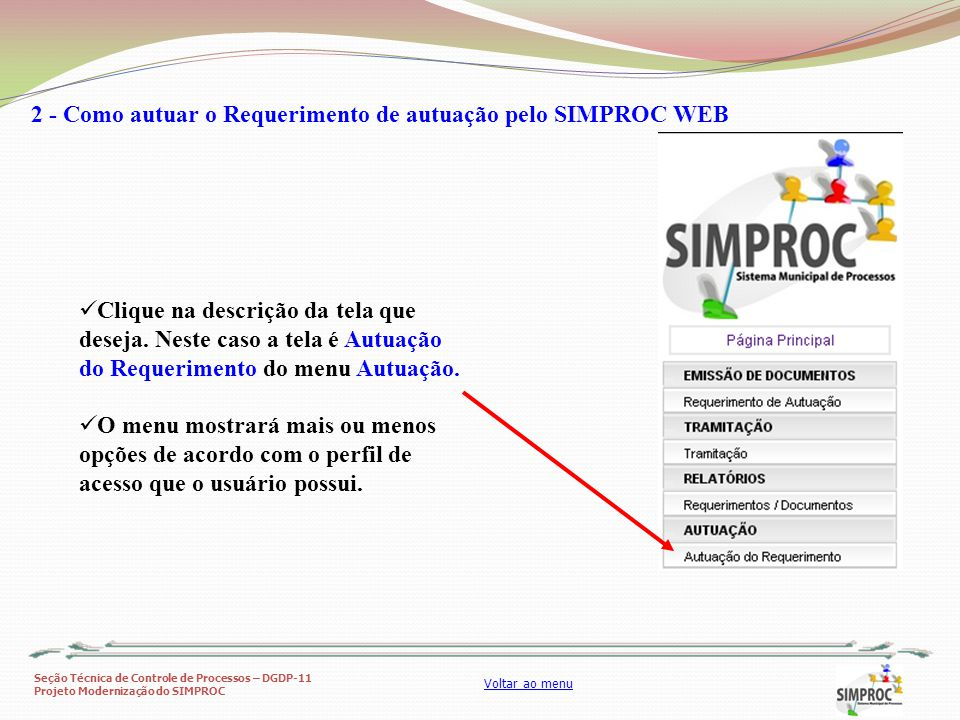 2 - Como autuar o Requerimento de autuação pelo SIMPROC WEB