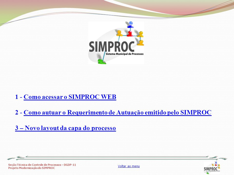 1 - Como acessar o SIMPROC WEB