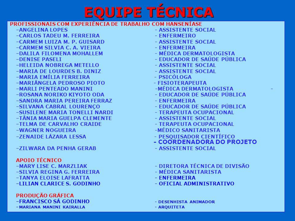 EQUIPE TÉCNICA PROFISSIONAIS COM EXPERIÊNCIA DE TRABALHO COM HANSENÍASE. ANGELINA LOPES - ASSISTENTE SOCIAL.