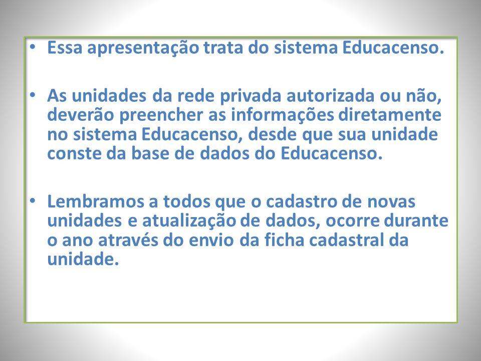 Essa apresentação trata do sistema Educacenso.