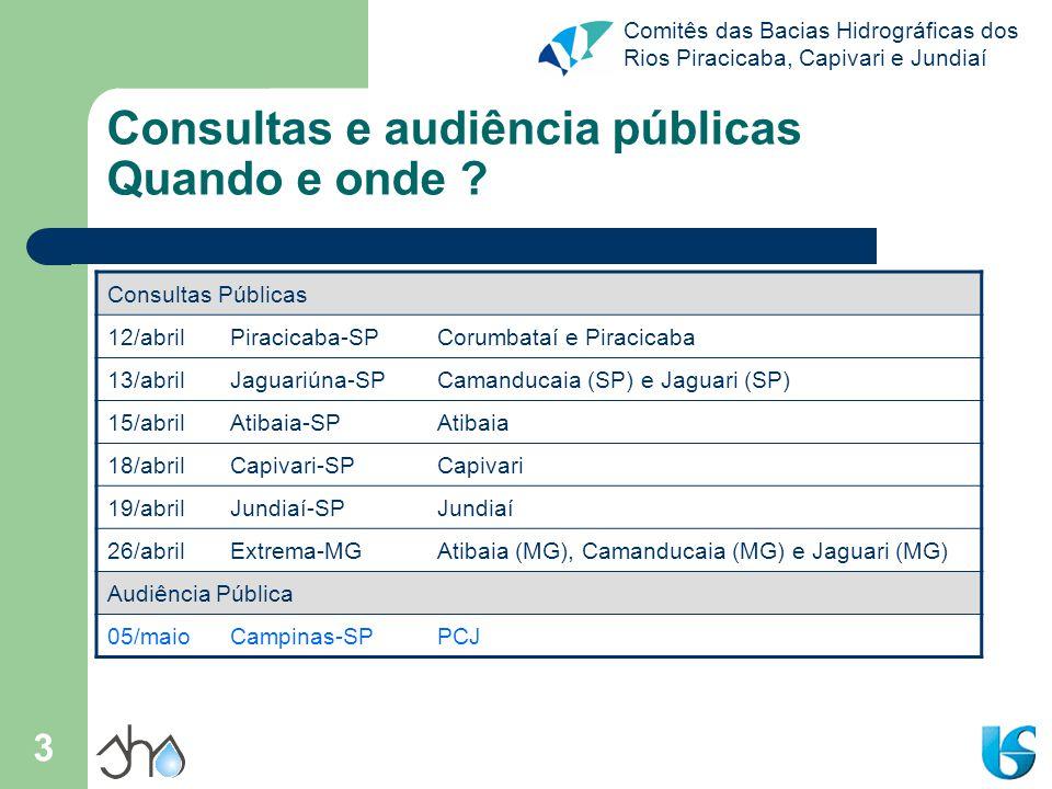 Consultas e audiência públicas Quando e onde