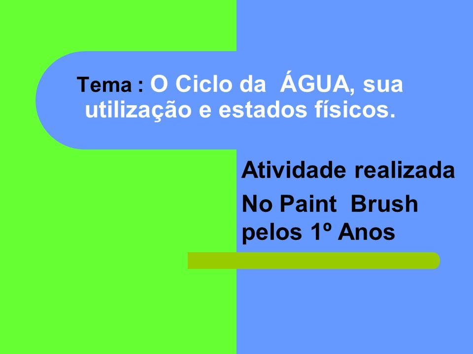 Tema : O Ciclo da ÁGUA, sua utilização e estados físicos.