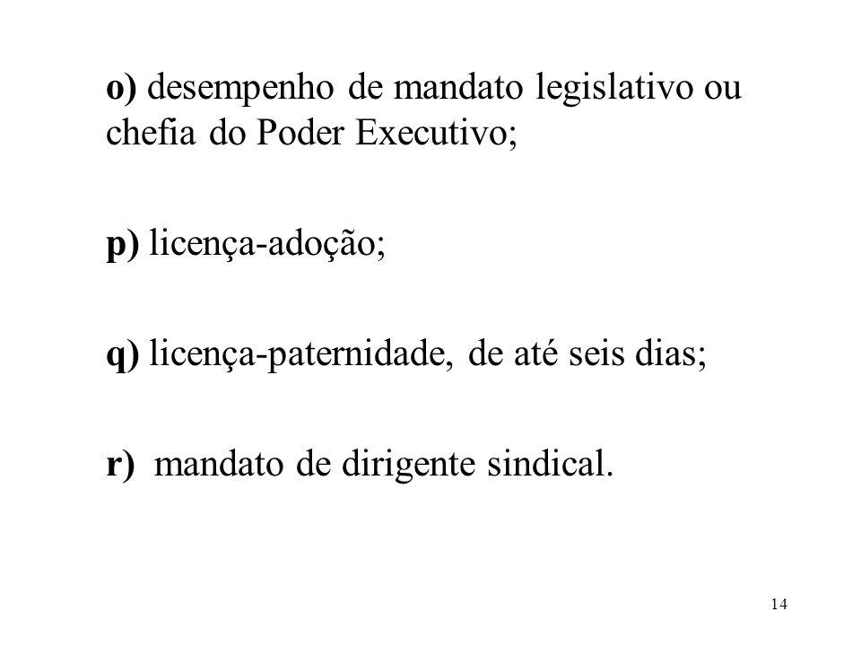 o) desempenho de mandato legislativo ou chefia do Poder Executivo; p) licença-adoção; q) licença-paternidade, de até seis dias; r) mandato de dirigente sindical.