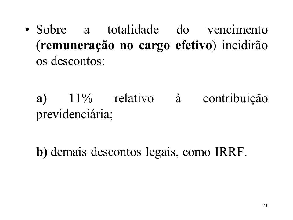 Sobre a totalidade do vencimento (remuneração no cargo efetivo) incidirão os descontos: