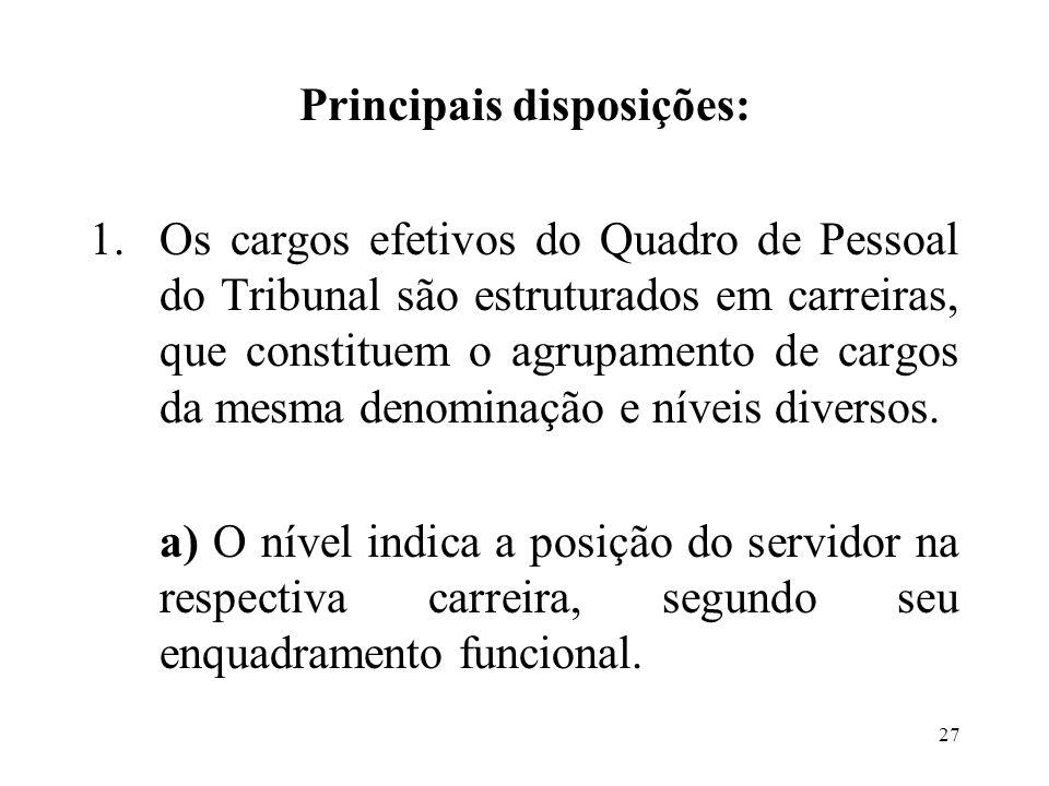 Principais disposições: