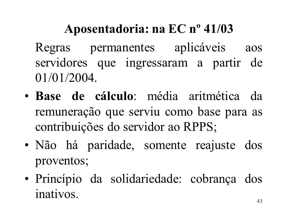 Aposentadoria: na EC nº 41/03