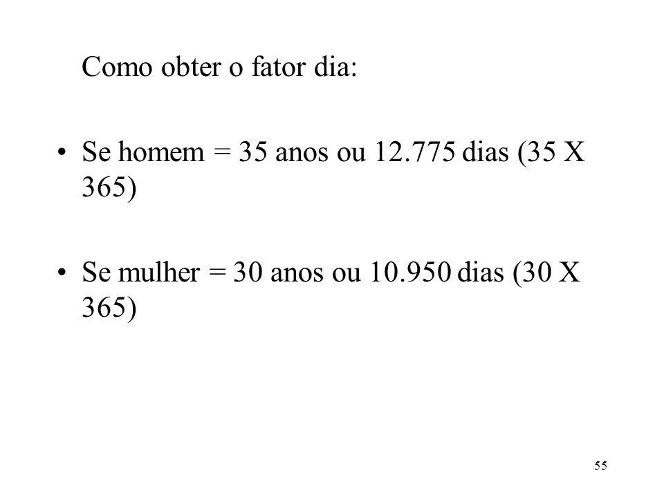 Como obter o fator dia: Se homem = 35 anos ou 12.775 dias (35 X 365) Se mulher = 30 anos ou 10.950 dias (30 X 365)