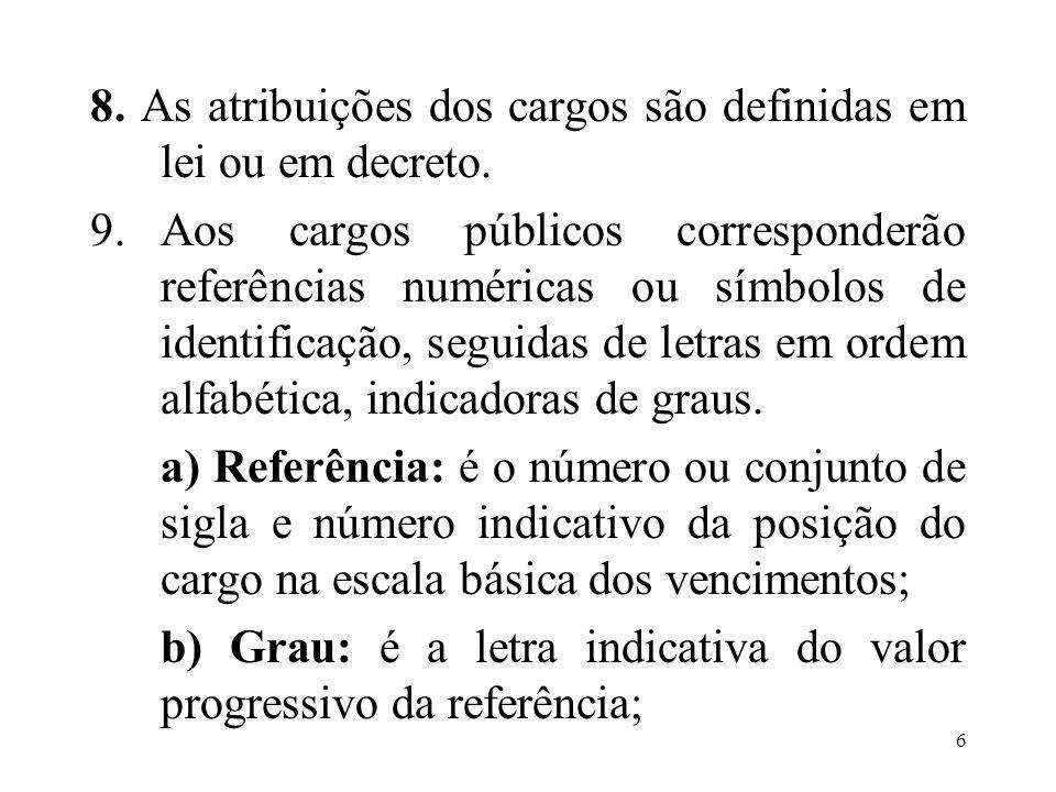 8. As atribuições dos cargos são definidas em lei ou em decreto.