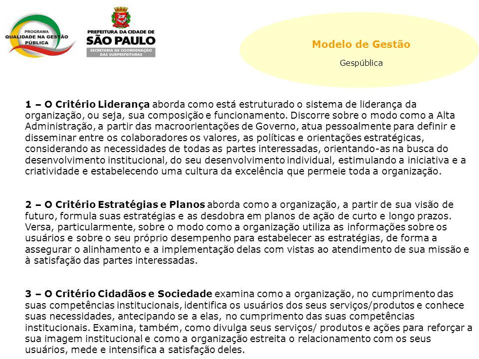 Modelo de Gestão Gespública.