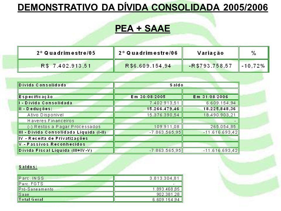 DEMONSTRATIVO DA DÍVIDA CONSOLIDADA 2005/2006