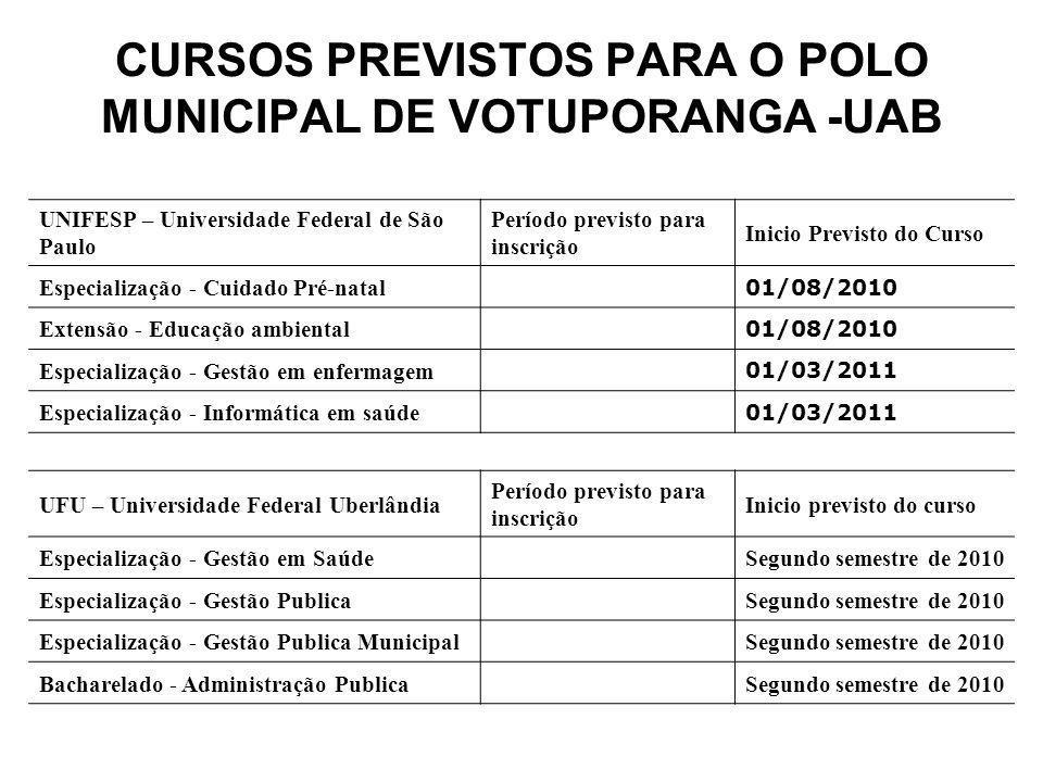 CURSOS PREVISTOS PARA O POLO MUNICIPAL DE VOTUPORANGA -UAB