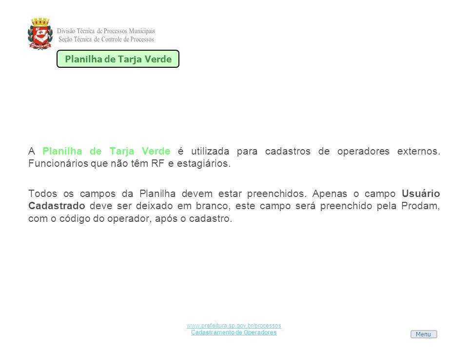 Planilha de Tarja Verde Cadastramento de Operadores