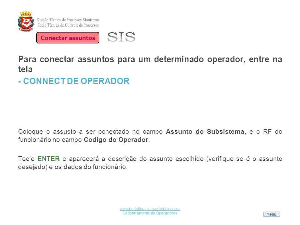 Cadastramento de Operadores