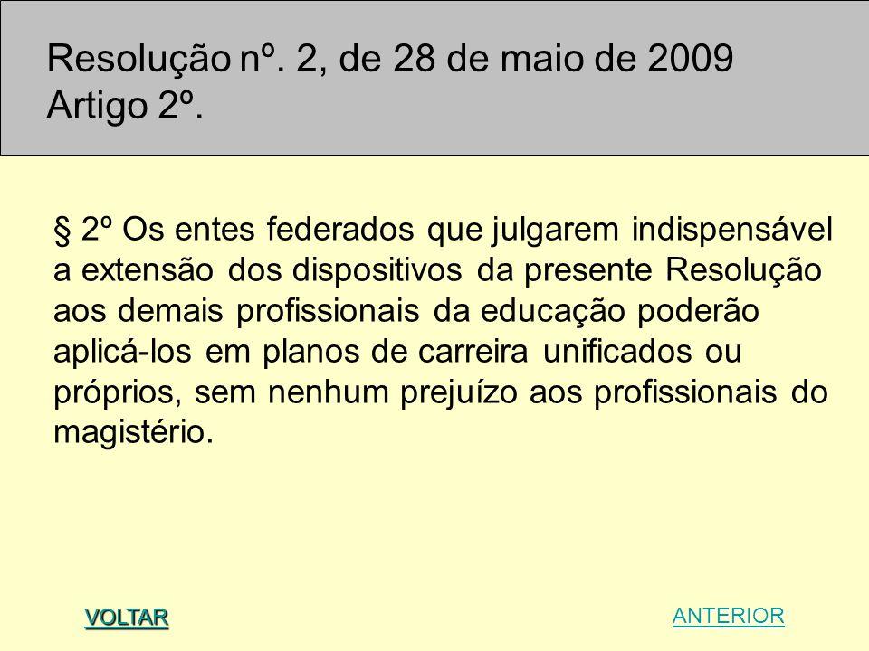 Resolução nº. 2, de 28 de maio de 2009 Artigo 2º.