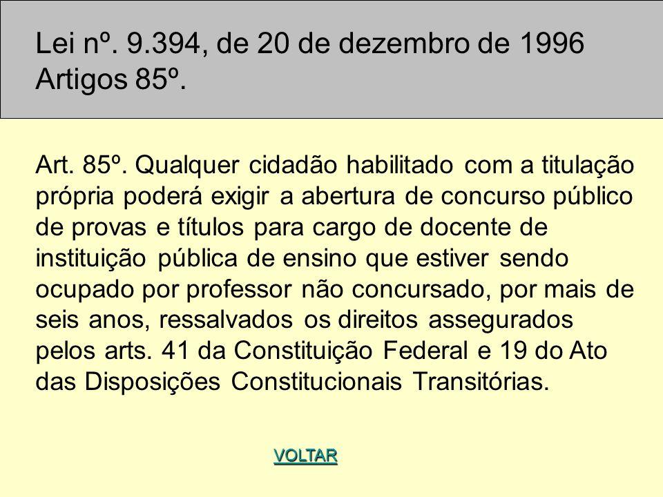 Lei nº. 9.394, de 20 de dezembro de 1996 Artigos 85º.