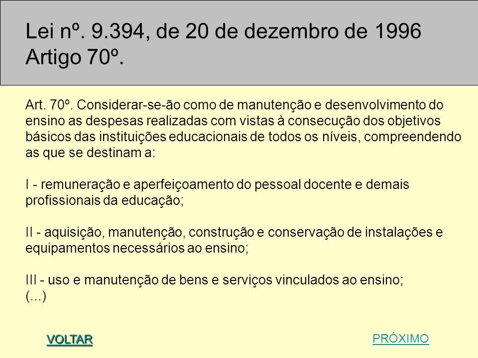 Lei nº. 9.394, de 20 de dezembro de 1996 Artigo 70º.