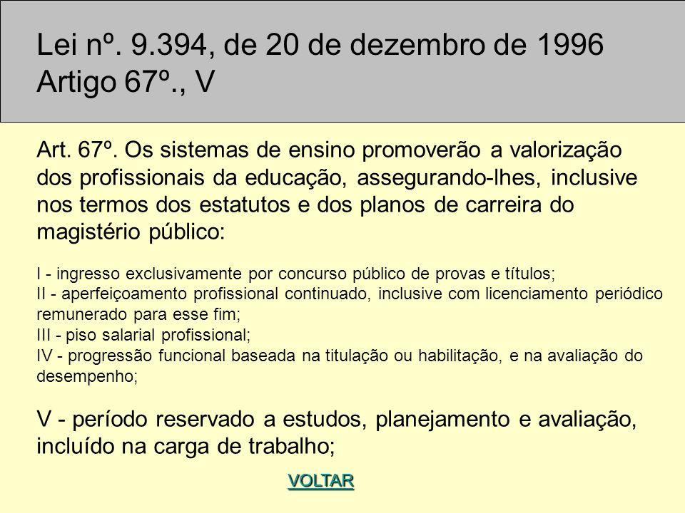 Lei nº. 9.394, de 20 de dezembro de 1996 Artigo 67º., V