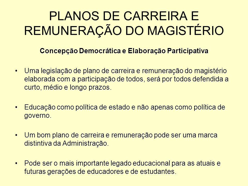 PLANOS DE CARREIRA E REMUNERAÇÃO DO MAGISTÉRIO