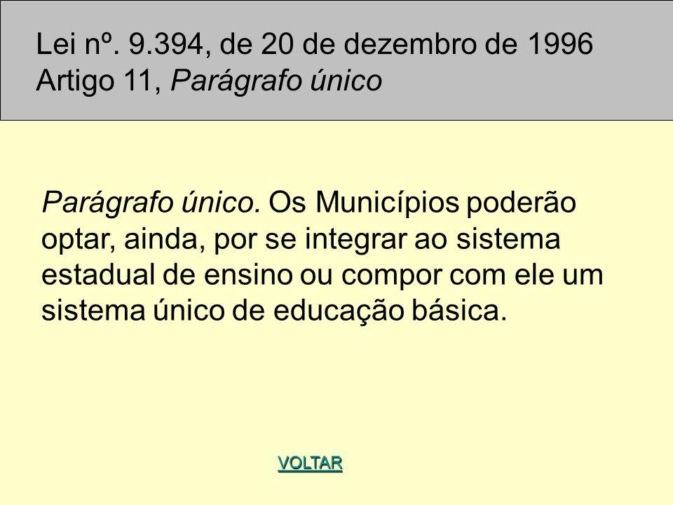 Lei nº. 9.394, de 20 de dezembro de 1996 Artigo 11, Parágrafo único