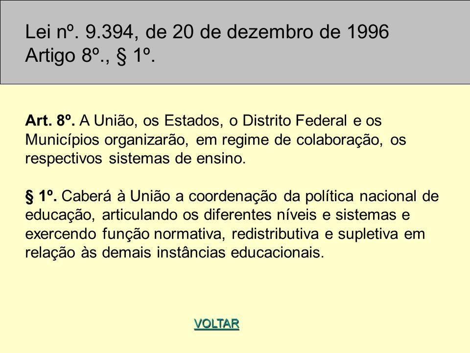 Lei nº. 9.394, de 20 de dezembro de 1996 Artigo 8º., § 1º.
