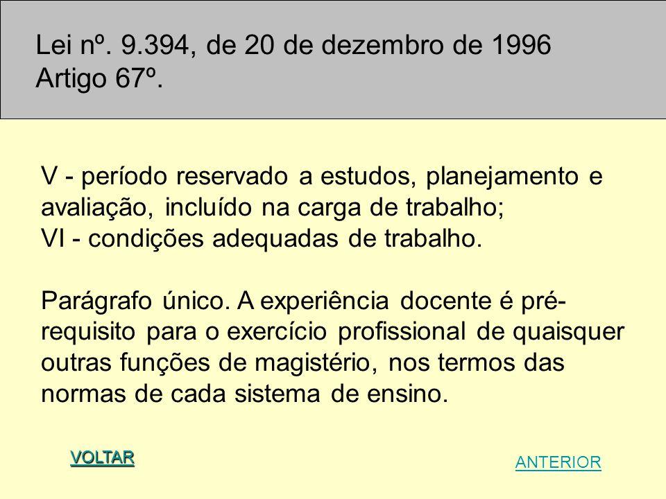 Lei nº. 9.394, de 20 de dezembro de 1996 Artigo 67º.