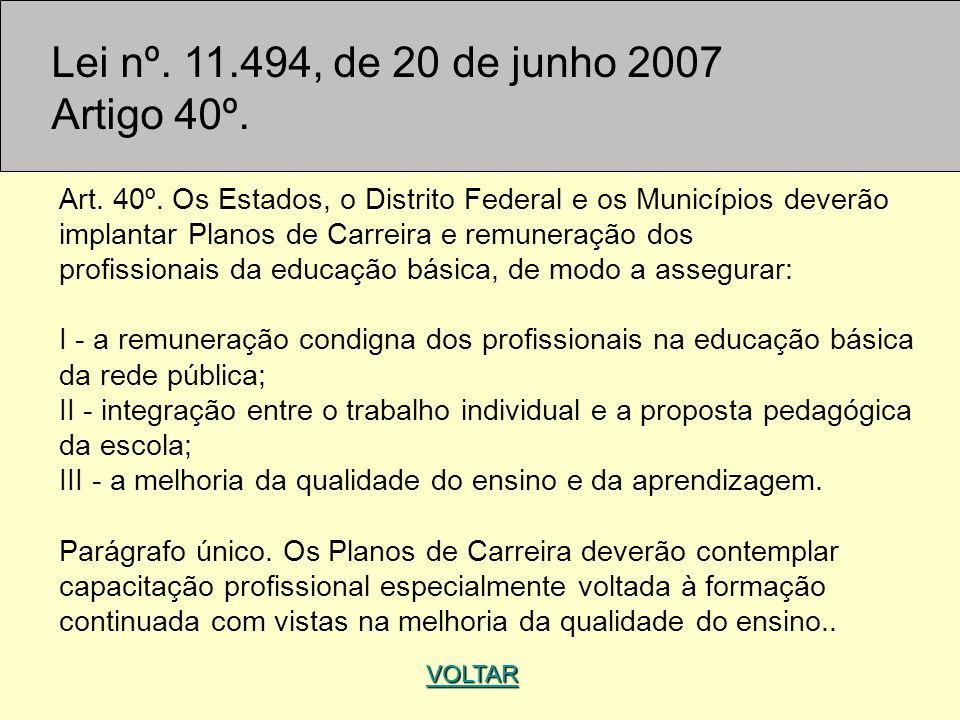 Lei nº. 11.494, de 20 de junho 2007 Artigo 40º.