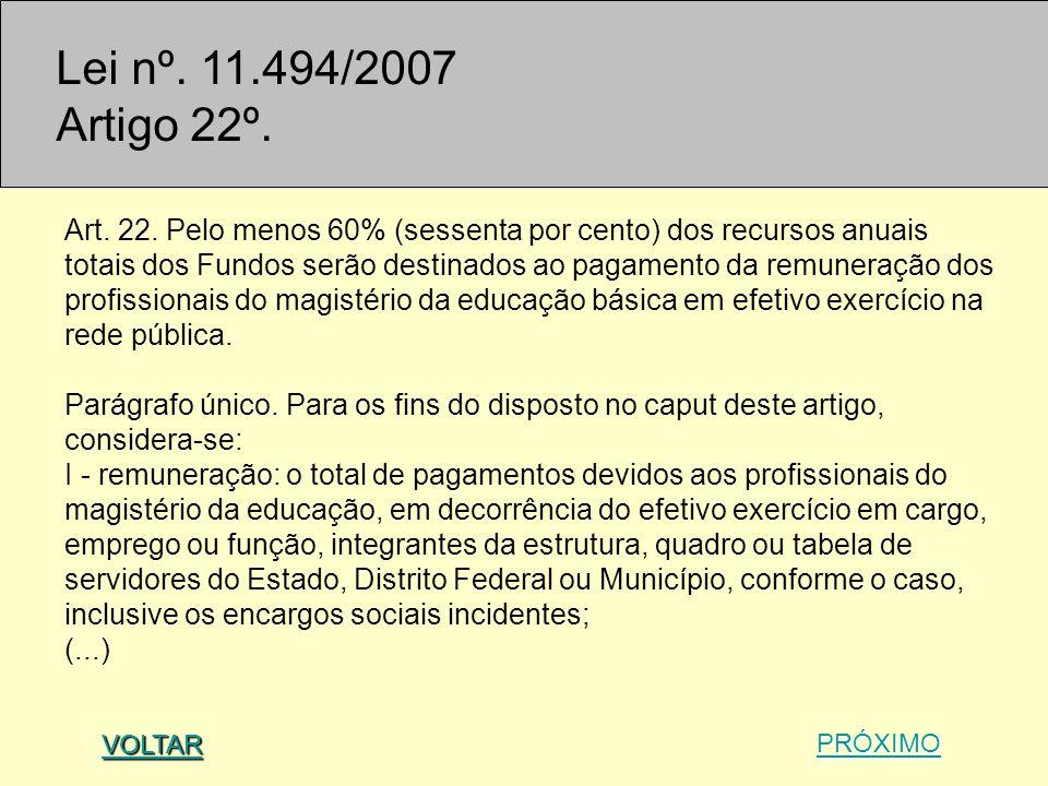 Lei nº. 11.494/2007 Artigo 22º.