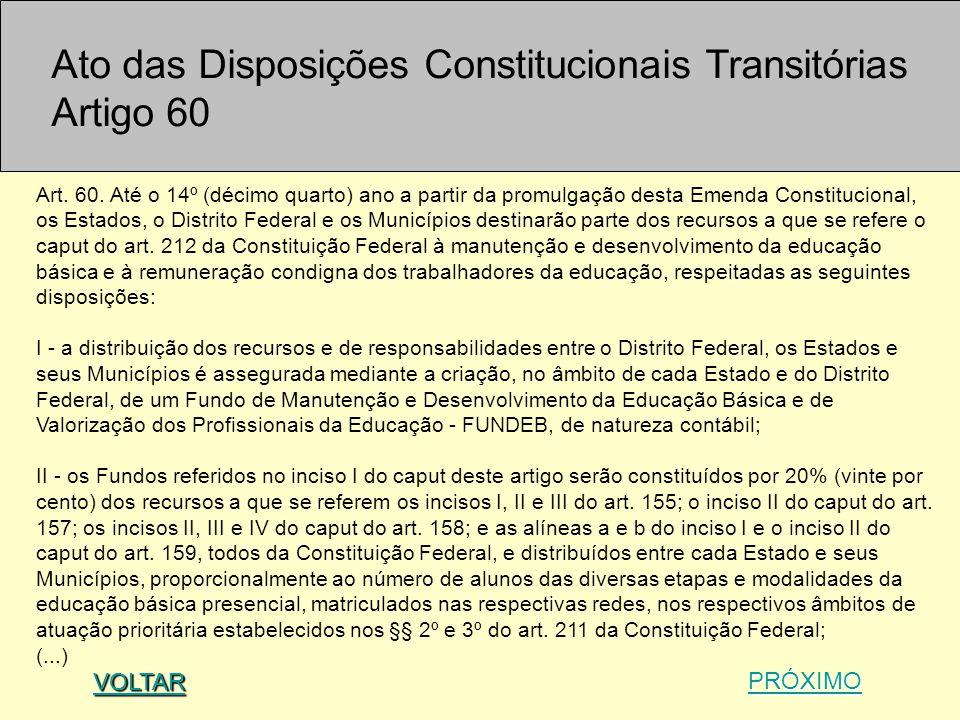 Ato das Disposições Constitucionais Transitórias Artigo 60