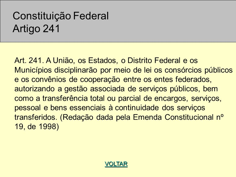 Constituição Federal Artigo 241