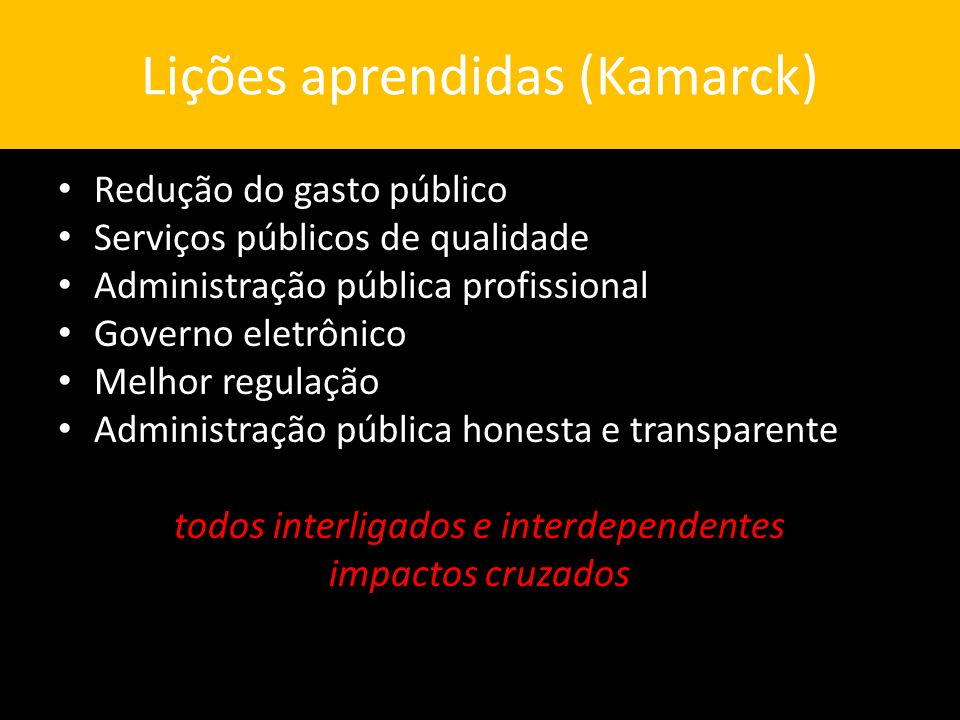 Lições aprendidas (Kamarck)