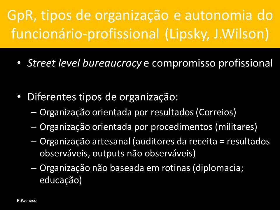 GpR, tipos de organização e autonomia do funcionário-profissional (Lipsky, J.Wilson)