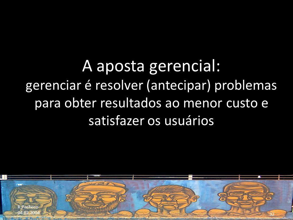 A aposta gerencial: gerenciar é resolver (antecipar) problemas para obter resultados ao menor custo e satisfazer os usuários