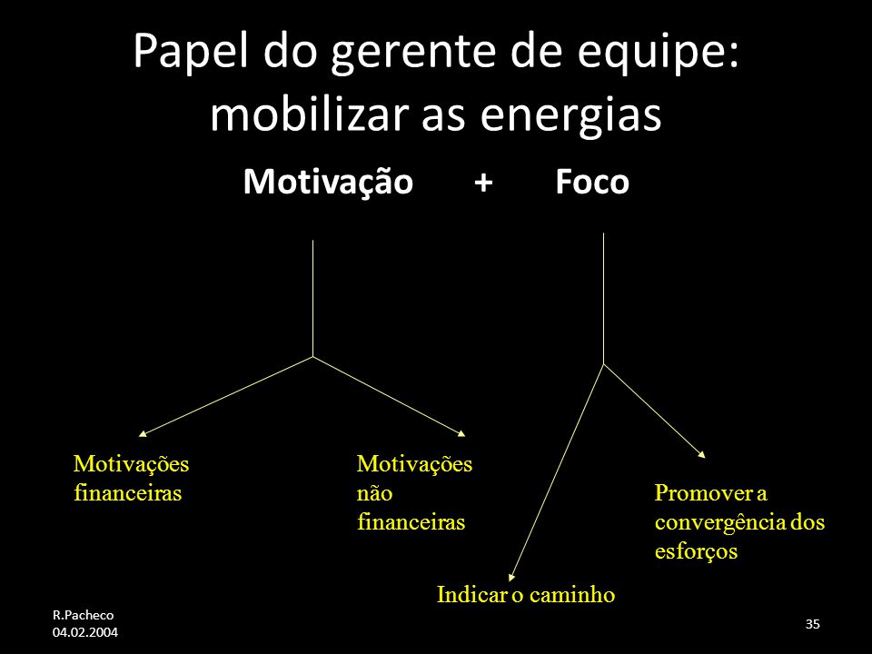 Papel do gerente de equipe: mobilizar as energias